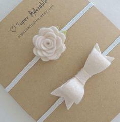 De fieltro flor diadema y lazo minúsculo conjunto por SuperAdorable