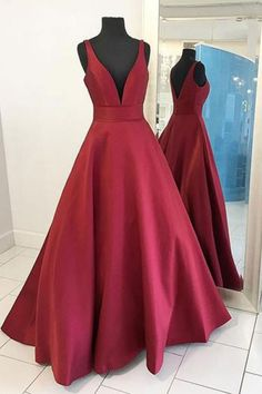 Red Formal Dresses#RedFormalDresses Long Prom Dress#LongPromDress Sexy Prom Dress#SexyPromDress V-Neck Prom Dress#V-NeckPromDress