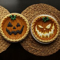 Turn store-bought pumpkin pies into spooky jack o'lanterns with this creative, time-saving tip.Get your 3 free stencils here, here, and here.