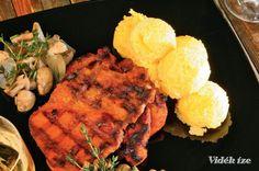 Roston sült tarja hagymás gombával és puliszkával  csütörtök  ebéd  550 Kcal