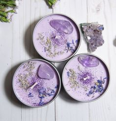 ASTRAL CANDLES - Serenity - Lavender Crystal Candle - Our Serenity Crystal Candle was designed for calming anxiety and obsessive-compulsive thought patte - Diy Candles Easy, Homemade Candles, Diy Candle Ideas, Mini Mundo, Purple Candles, Lavender Candles, Glitter Candles, Jar Candles, Handmade Soaps