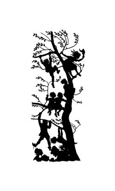 papercut silhouette TREEKIDS black and white art by reevpapercuts, €69.00
