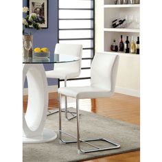 Furniture of America Damore Contemporary Counter Height Padded Leatherette Dining Chair - White