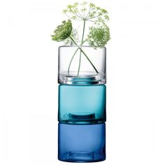Buy Blue, Handmade Glass ,Stack, 41.5cm Vases from the Official LSA…
