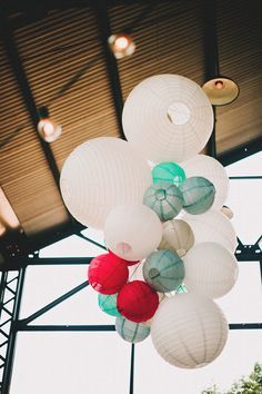 paper lantern display at the ceremony, photo by Two Pair Photography http://ruffledblog.com/the-plant-at-kyle-wedding #paperlanterns #decor