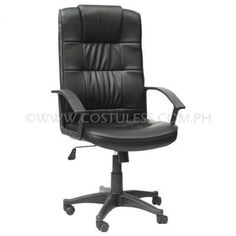 Product Code: HBC-106  Sale Price:	P3 599.00 Description:  Ergodynamic™ High back Executive Chair, Pneumatic height adjustment, 300mm nylon base, Tilt Mechanism, man made leather material, Pneumatic Height Adjustment Product  Measurement: 63L x 50W x 104-114Hcm Chair Capacity: 80kgs.  Classification: LIGHT DUTY