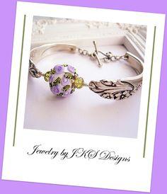 Purple Anitique Spoon Silver Flatware Lampwork Floral Rose Bracelet, Jewelry by JKS Designs Australia
