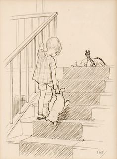 "SHEPARD, Ernest H. - Original drawing ""Up Stairs with Teddy Bear"" - Original artwork used to illustrate the final page of Winnie-the-Pooh. Initialled by Shepard and captioned by him in pencil on the reverse. An iconic image, it comes from the last chapter ""In which Christopher Robin gives a Pooh party, and we say good-bye"". ""He nodded and went out ...and in a moment I heard Winnie-the-Pooh – bump, bump, bump – going up the stairs behind him."" Provenance: from the collection of Pat McInally."