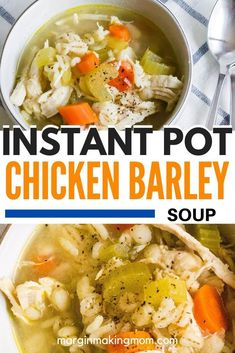 This easy recipe for chicken and barley soup cooks in the Instant Pot, making it a quick and easy meal!
