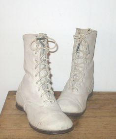 19th Century Ivory Suede 10 Hole Lace Up High Top Shoes