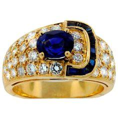 VAN CLEEF & ARPELS Sapphire Diamond & Yellow Gold Buckle Ring, ca. 1970s