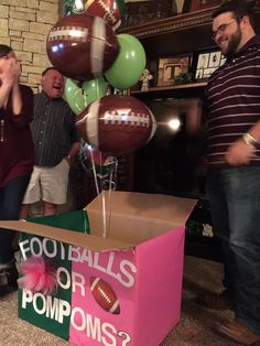 Check out this fun baby shower activity! It sure makes for an interesting baby shower announcement for a gender reveal party! Gender Reveal Box, Baby Gender Reveal Party, Gender Party, Gender Reveal Football, Baby Shower Parties, Baby Shower Themes, Shower Ideas, Bebe Shower, Gender Announcements