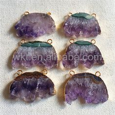 WT-P947 10% off Freedom Wholesale Unique Purple Amethyst Pendant With Double Ring In 24k Gold Electroplated Boho Christams Pendant For Women by WKTjewelry on Etsy