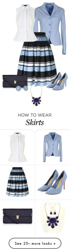 """Shades of Blue Skirt"" by nightwisp on Polyvore featuring Tagliatore, Dolce&Gabbana, Alexander Wang, Accessorize and Skagen"