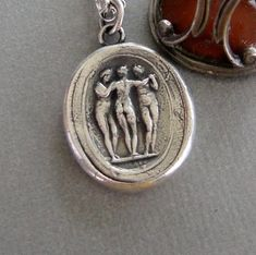 The Three Graces…. Charm, beauty and creativity. Wax Letter Seal, Antique Wax, Wax Seals, Creativity, Charmed, Lettering, Sterling Silver, Antiques, Greek Mythology