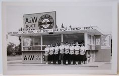 A & W Drive In Restaurant Postcard / Car Hops / Roadside Advertising / Fantastic