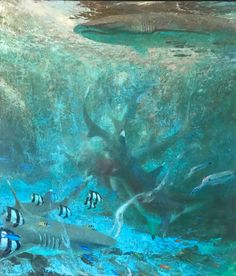 David C. Gallup is a fine artist in Camarillo, CA. He is a Signature Member of California Art Club & has had museum shows of his Channel Island marine life, landscapes & wildlife oil paintings. He is currently painting underwater scenes: sharks, Underwater Painting, Hamptons Decor, Shark Art, Landscape Paintings, Ocean Paintings, California Art, Coastal Art, Sea And Ocean, Wildlife Art