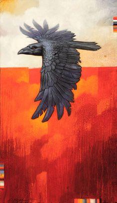 Craig Kosak painting of a raven bird-totem in flight inspired by native American folk beliefs Quoth The Raven, Raven Bird, Crow Art, Bird Art, Dark Wings, Raven Tattoo, Jackdaw, Crows Ravens, Surrealism Painting
