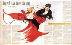 One of Christel's romantic scenes in the magazine 'Sunday BT' in 1953.