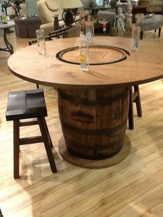 I really like this Jack Daniels whiskey barrel table. I need to find one.