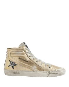 GOLDEN GOOSE GLITTER STAR GOLD LEATHER HIGH-TOP SNEAKERS METALLIC. #goldengoose #shoes #