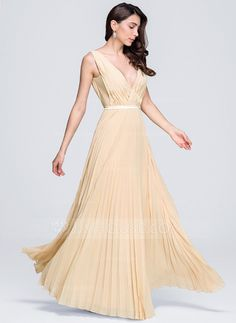 [US$ 122.99] A-Line/Princess V-neck Floor-Length Chiffon Evening Dress With Pleated