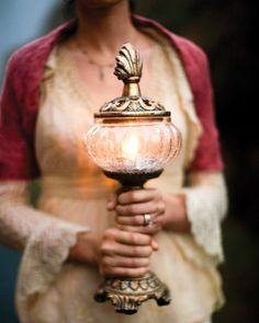 Glowing lantern in place of flowers