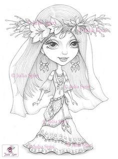 Coloring Pages, Digital stamp, Digi, Bride, Boho, Flowers, Bohemian, Fantasy, Whimsical, Crafting, Making cards. Boho bride