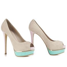 Peep toe pump in Velour, suede calfskin with sand, florida and pink colour mix