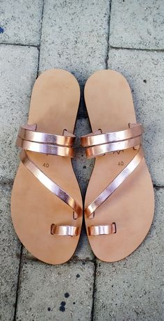 cc91ef624f7b Two strap sandals in Rose gold colour Leather. Made from genuine Italian  Leather. All