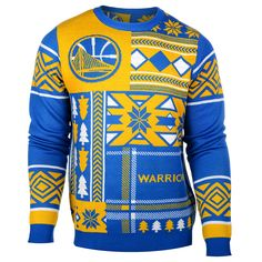 8a227d3bd Golden State Warriors NBA Patches Ugly Sweater by Klew Warriors  Merchandise
