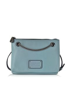NEW TOO HOT TO HANDLE DOUBLE DECKER ICE BLUE LEATHER CROSSBODY MARC BY MARC JACOBS