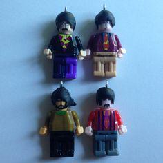 K'nex Earrings  The Beatles  repurposed toys by ErinEtc on Etsy, $12.50 per figure