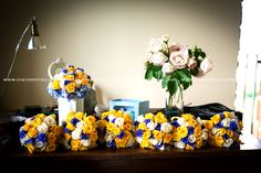 #yellow and #blue bouquet for #wedding in #italy planning by @italyprestige.com at www.italyprestige.com