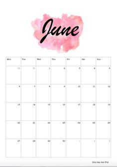 #self #made #selfmade #calander #calendar #calendars #celender #celendar #2016 #june #diy #printables #Juni #doehetzelf #nederlands #american #englisch #nederland #holland #color #kleur #watercolor #water