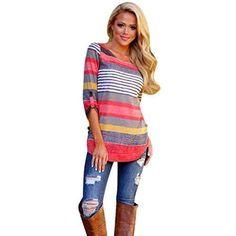 Oferta: 6.26€. Comprar Ofertas de FEITONG Manera de las mujeres blusa suelta casual de las señoras camiseta de las tapas (XXXXL, rosado) barato. ¡Mira las ofertas!