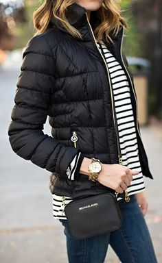 Black and White Stripes With Puffer Jacket