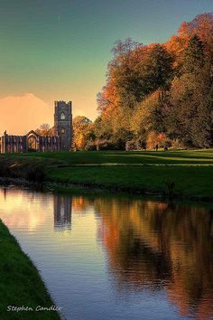 Reflections along the river toward Fountains Abbey, North Yorkshire, England