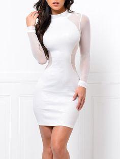 Mock Neck Sheer Bodycon Dress - WHITE M