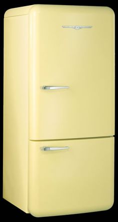 yellow retro fridge. oh ya!