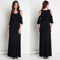 """X """"Distraction"""" Cold Shoulder Maxi Dress Cold shoulder maxi dress. Perfect for those casual weekends! Available in black and silver. This listing is for the BLACK. Brand new. True to size. Bare Anthology Dresses Maxi"""