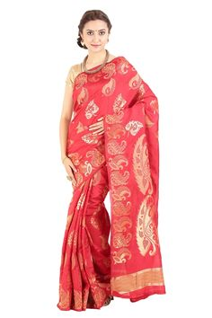 Look pretty like never before to wearing this chilli red color wedding sarees. This beautiful saree features a classy print all over, which makes it a smart pick for casual occasions. Pure Silk sarees to bring out the true essence of the Indian tradition.