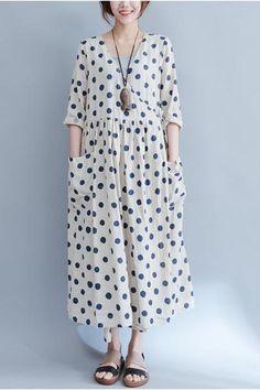 Blue Dot Loose Long Casual Cotton Linen Dress Women Clothes