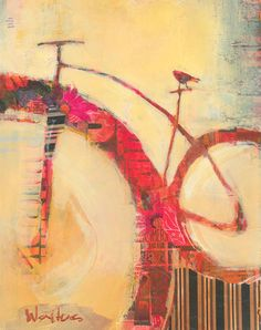 Red Rider  11 x 14 mixed media painting on paper    From a series of bicycle paintings.
