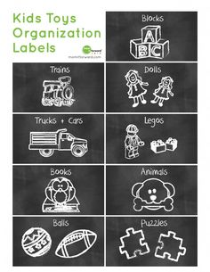 {Free Printable} Cute chalkboard kids toys organization labels