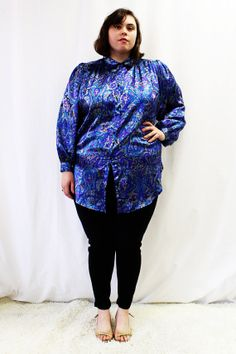 Plus Size - Vintage Paisley Satin Button Front Tunic Blouse by TheCurvyElle, $20.00