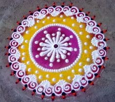 We have picked some colourful flower rangoli designs for you. Make these creative, simple flower rangoli designs on festivals like Diwali and Onam. Best Rangoli For Diwali, Easy Rangoli Designs Diwali, Rangoli Ideas, Small Rangoli, Rangoli Designs With Dots, Kolam Designs, Latest Rangoli, Diwali Craft, Sanskar Bharti Rangoli Designs