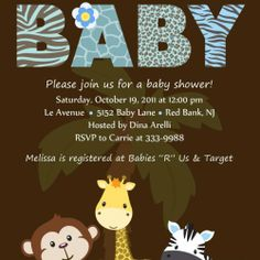 Personalized Animal Safari Jungle Baby Shower Invitation-Digital Print... | theprintfairy - Digital Art  on ArtFire