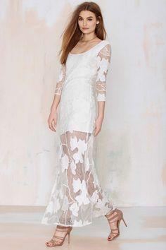 Line & Dot Monet Maxi Dress - White Lace Dress