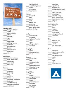 camping pack list. this would have been great two weekends ago, when we forgot tables & chairs hahahaha